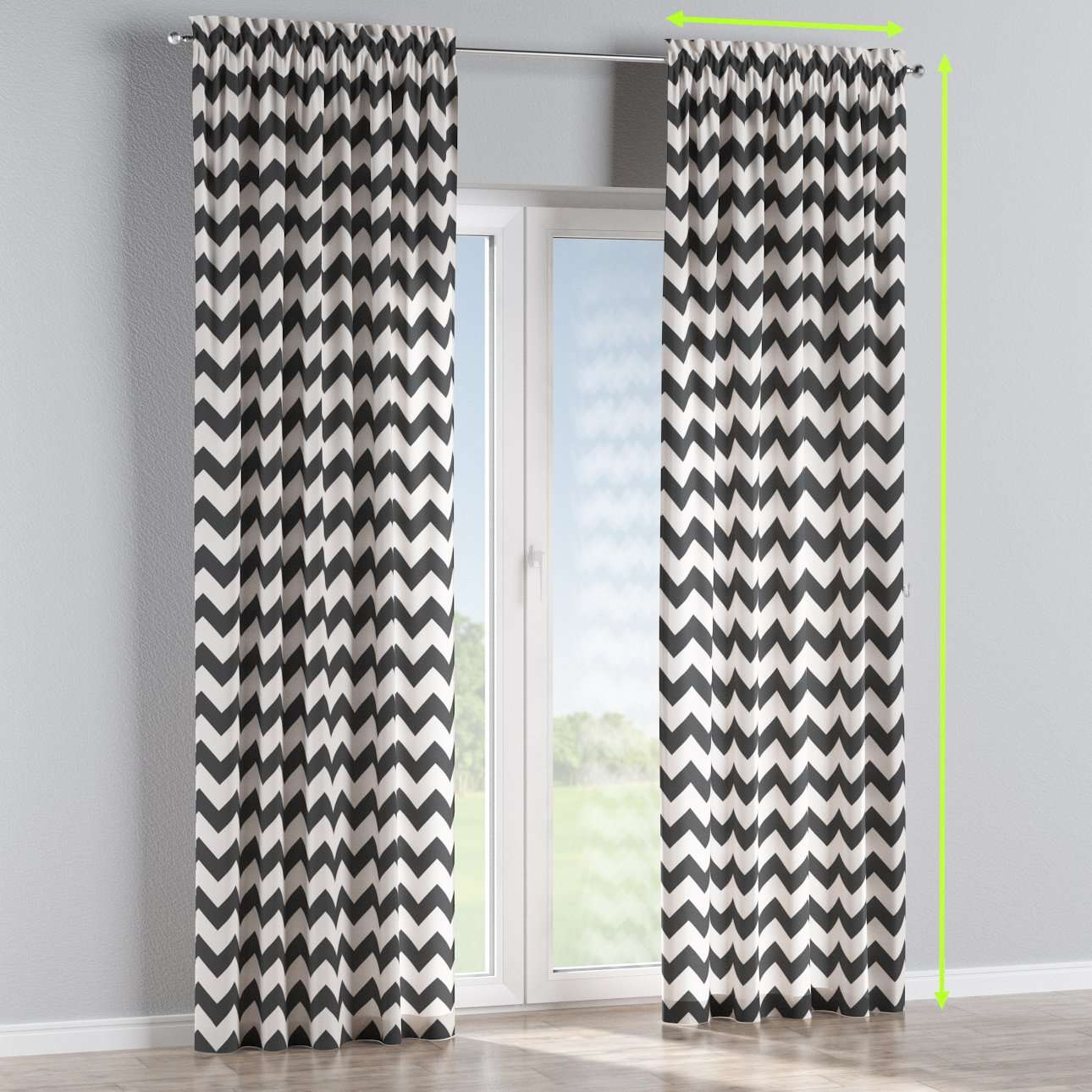 Slot and frill lined curtains in collection Comic Book & Geo Prints, fabric: 135-02