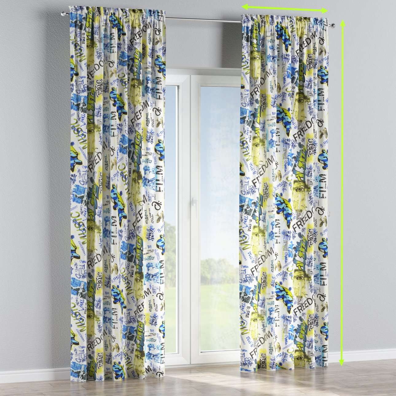 Slot and frill lined curtains in collection Freestyle, fabric: 135-08