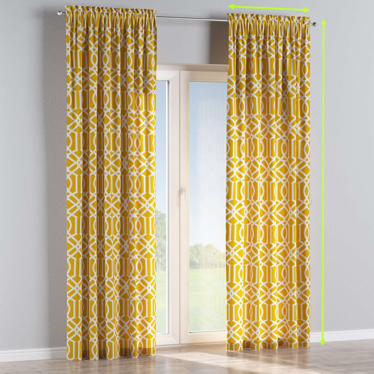 Slot and frill lined curtains in collection Comic Book & Geo Prints, fabric: 135-09