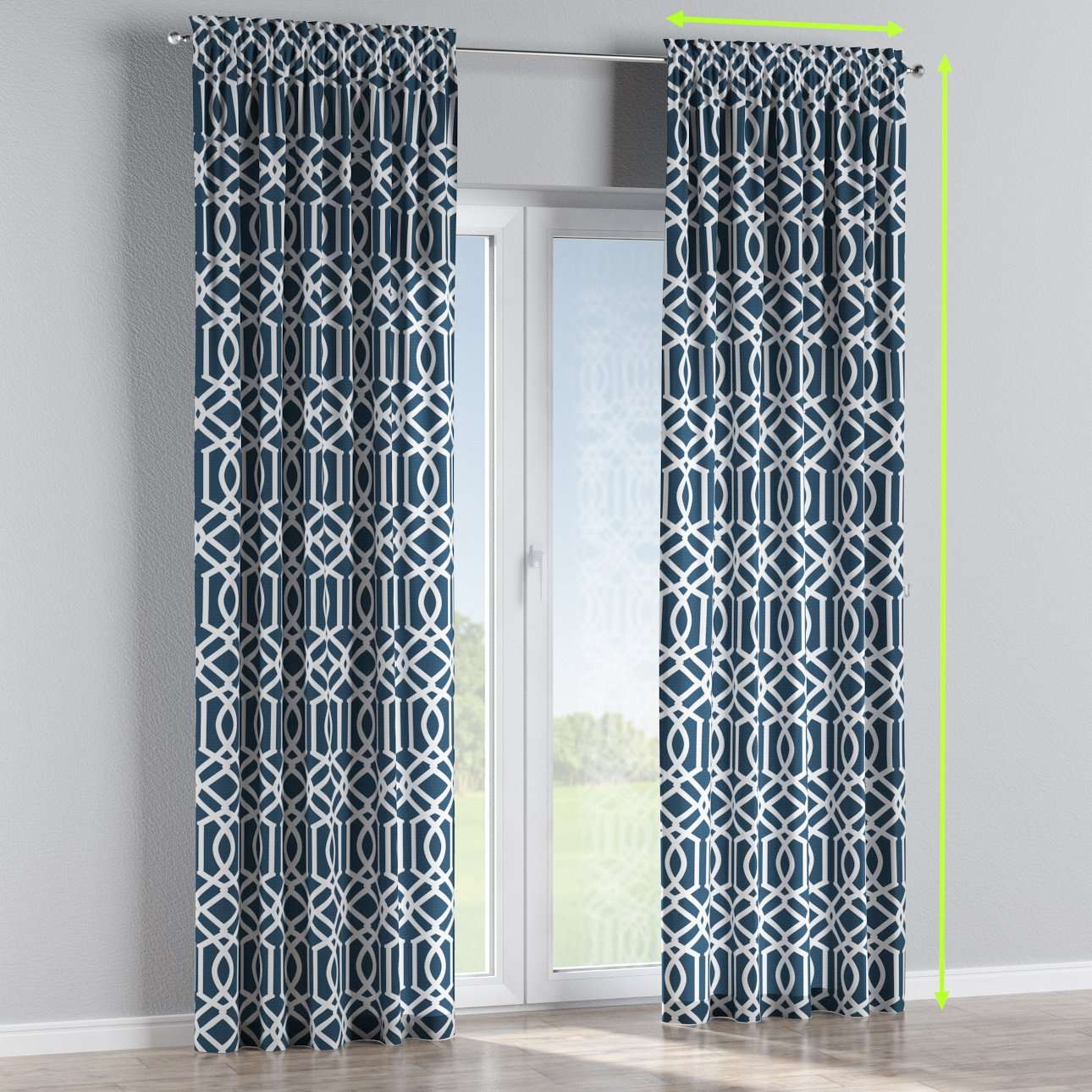 Slot and frill lined curtains in collection Comic Book & Geo Prints, fabric: 135-10