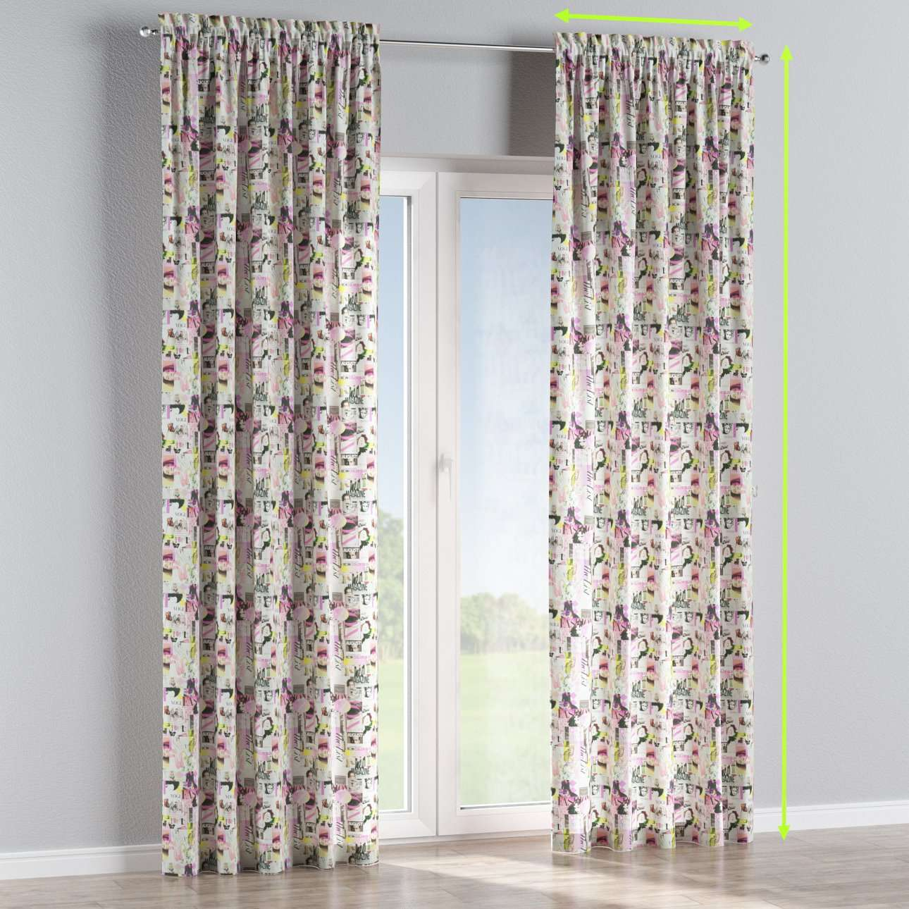 Slot and frill lined curtains in collection Freestyle, fabric: 135-15