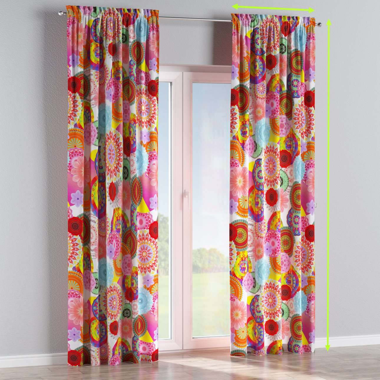 Slot and frill lined curtains in collection Comic Book & Geo Prints, fabric: 135-22