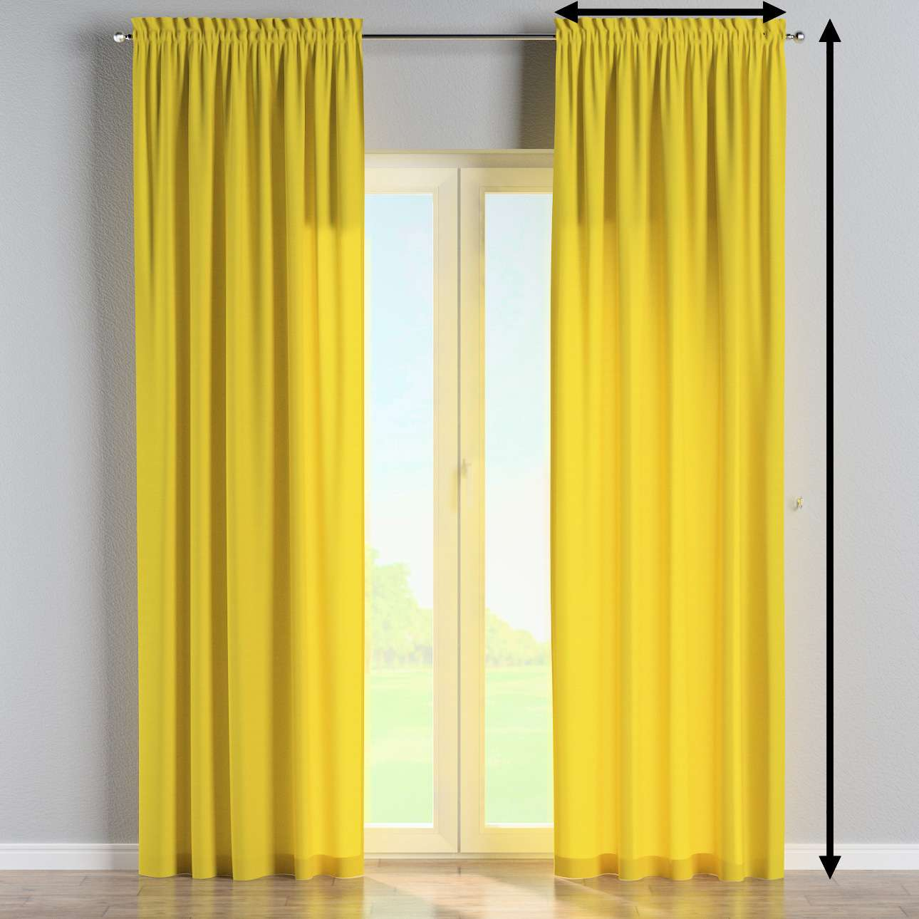 Slot and frill lined curtains in collection Loneta , fabric: 133-55