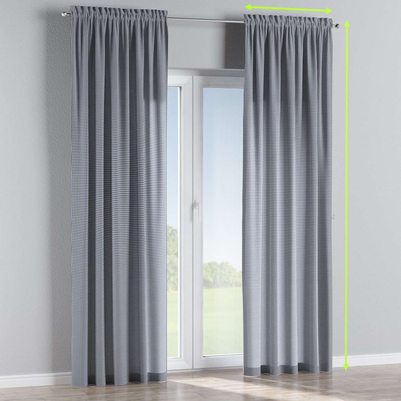 Slot and frill lined curtains in collection Quadro, fabric: 136-00
