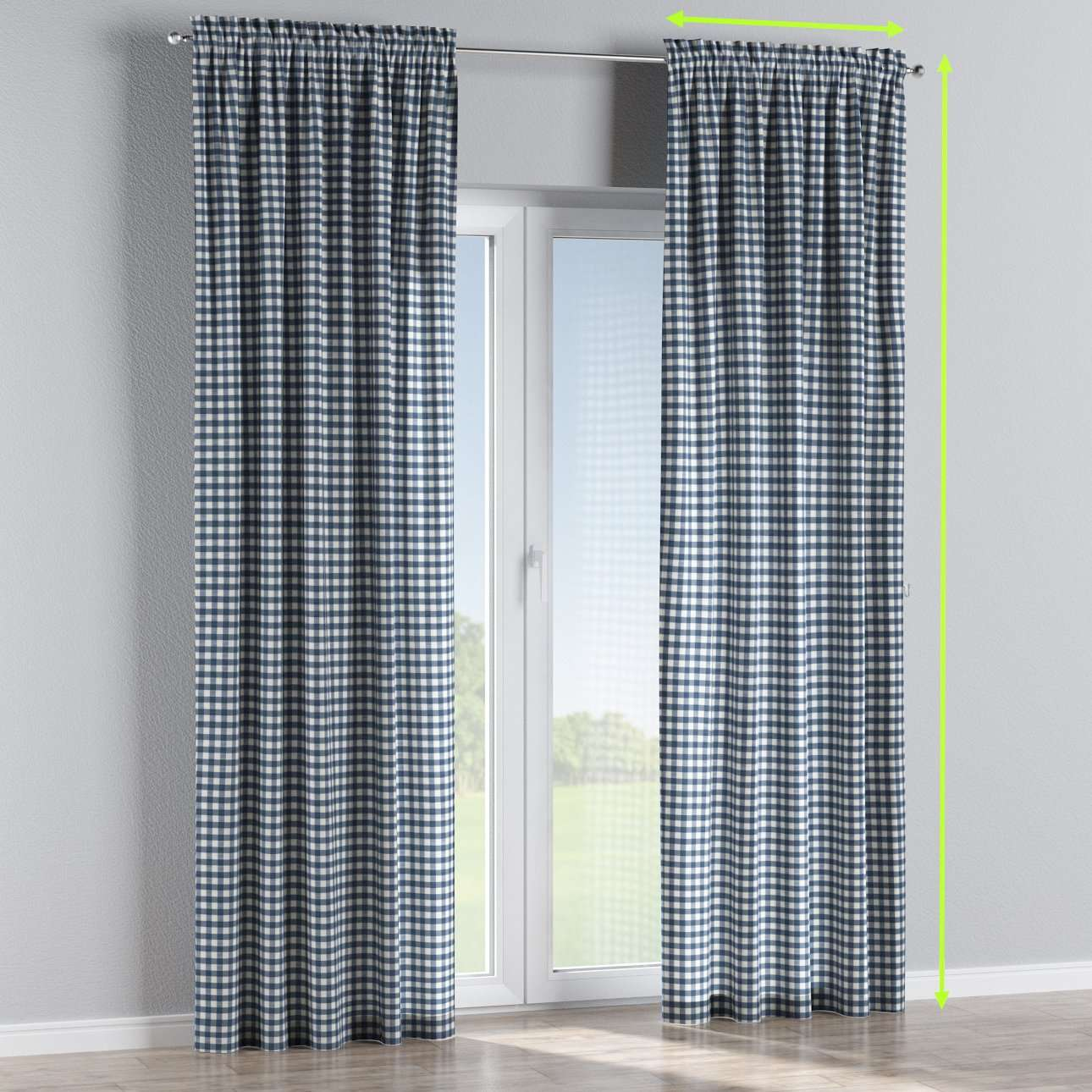 Slot and frill lined curtains in collection Quadro, fabric: 136-01