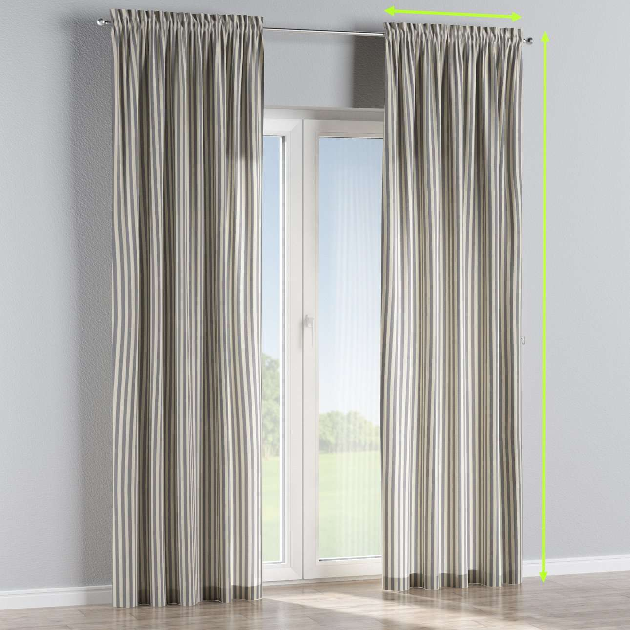 Slot and frill lined curtains in collection Quadro, fabric: 136-02
