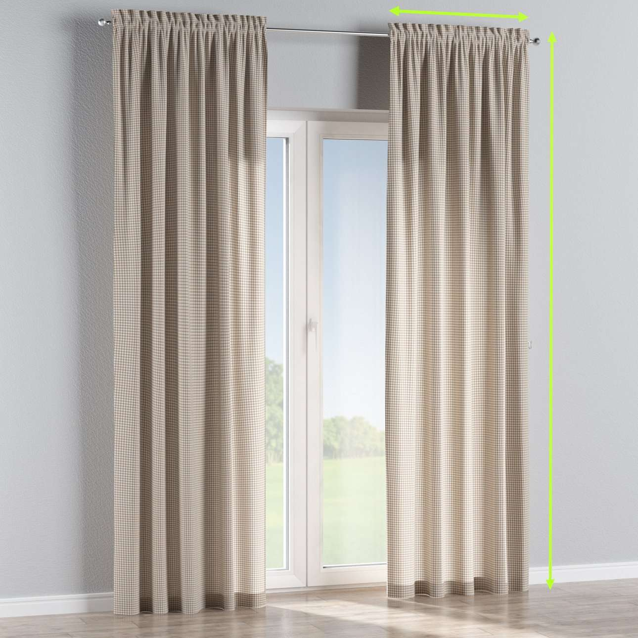 Slot and frill lined curtains in collection Quadro, fabric: 136-05