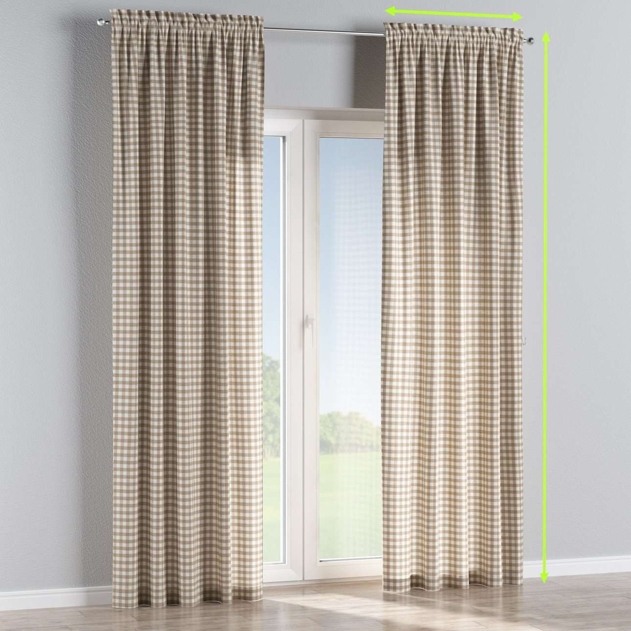 Slot and frill lined curtains in collection Quadro, fabric: 136-06