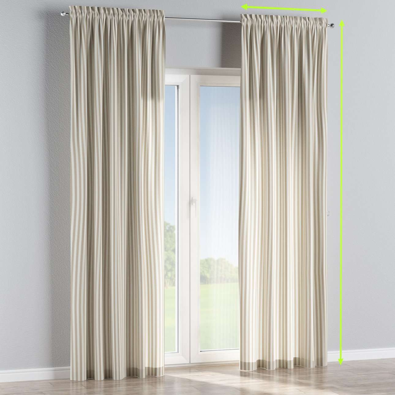 Slot and frill lined curtains in collection Quadro, fabric: 136-07