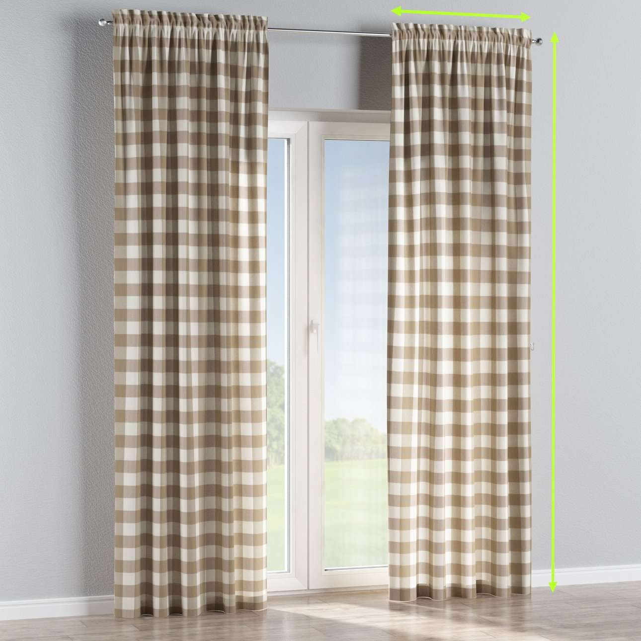 Slot and frill lined curtains in collection Quadro, fabric: 136-08