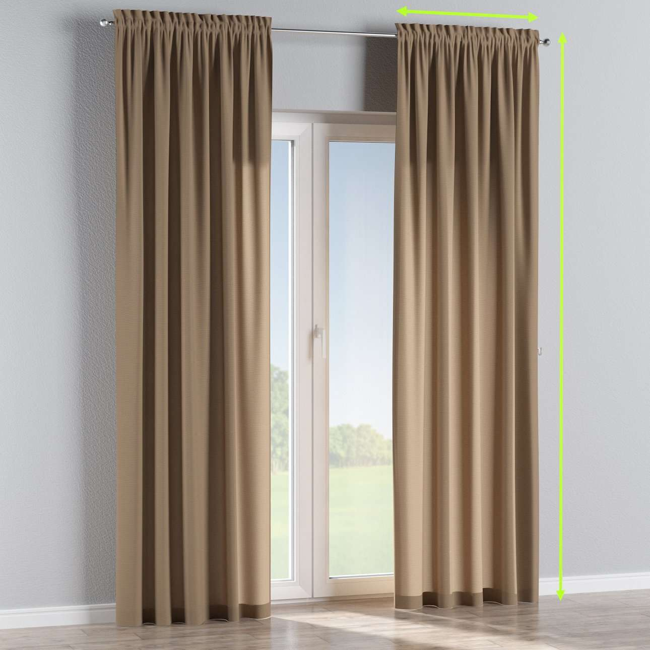 Slot and frill lined curtains in collection Quadro, fabric: 136-09