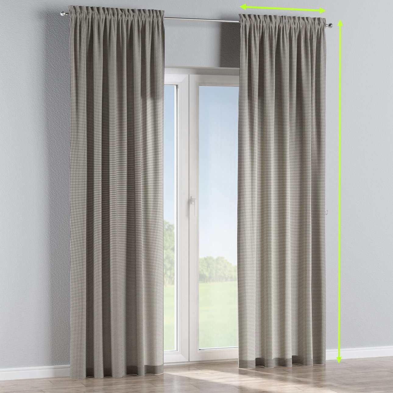 Slot and frill lined curtains in collection Quadro, fabric: 136-10