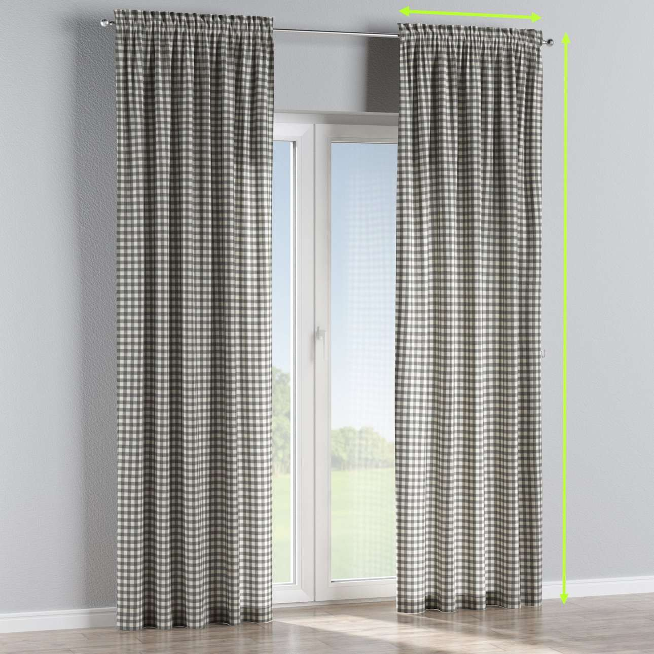 Slot and frill lined curtains in collection Quadro, fabric: 136-11