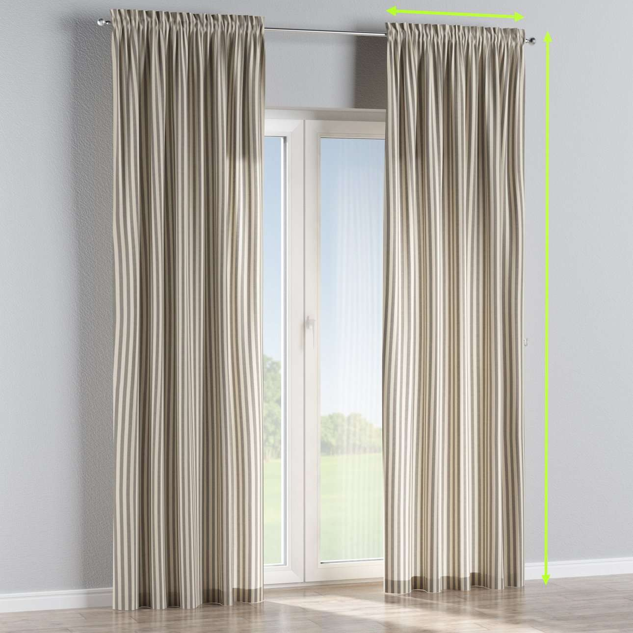 Slot and frill lined curtains in collection Quadro, fabric: 136-12