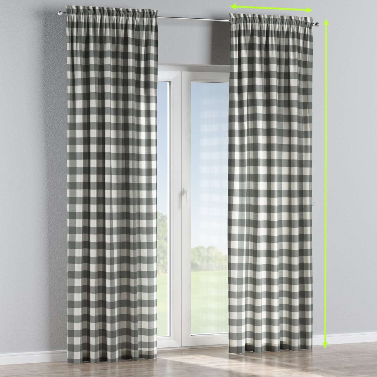 Slot and frill lined curtains in collection Quadro, fabric: 136-13