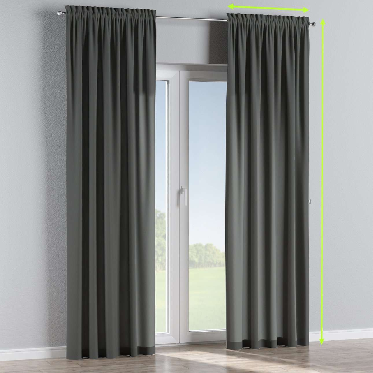 Slot and frill lined curtains in collection Quadro, fabric: 136-14
