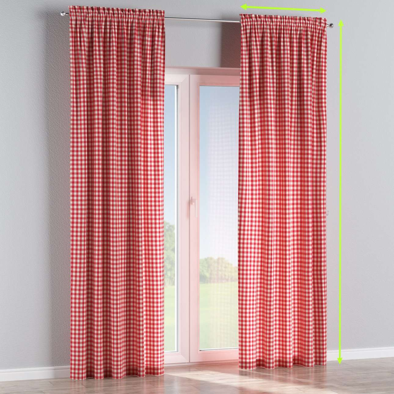 Slot and frill lined curtains in collection Quadro, fabric: 136-16