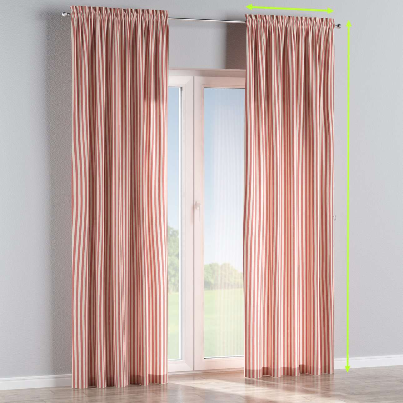 Slot and frill lined curtains in collection Quadro, fabric: 136-17