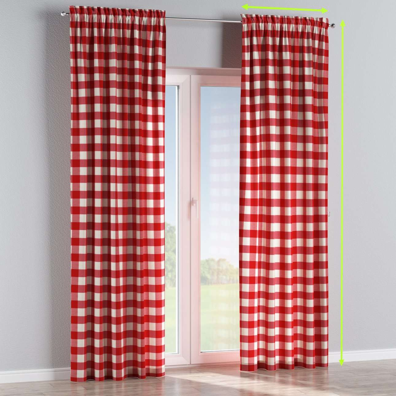 Slot and frill lined curtains in collection Quadro, fabric: 136-18