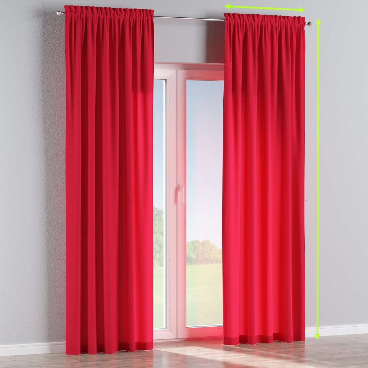 Slot and frill lined curtains in collection Quadro, fabric: 136-19