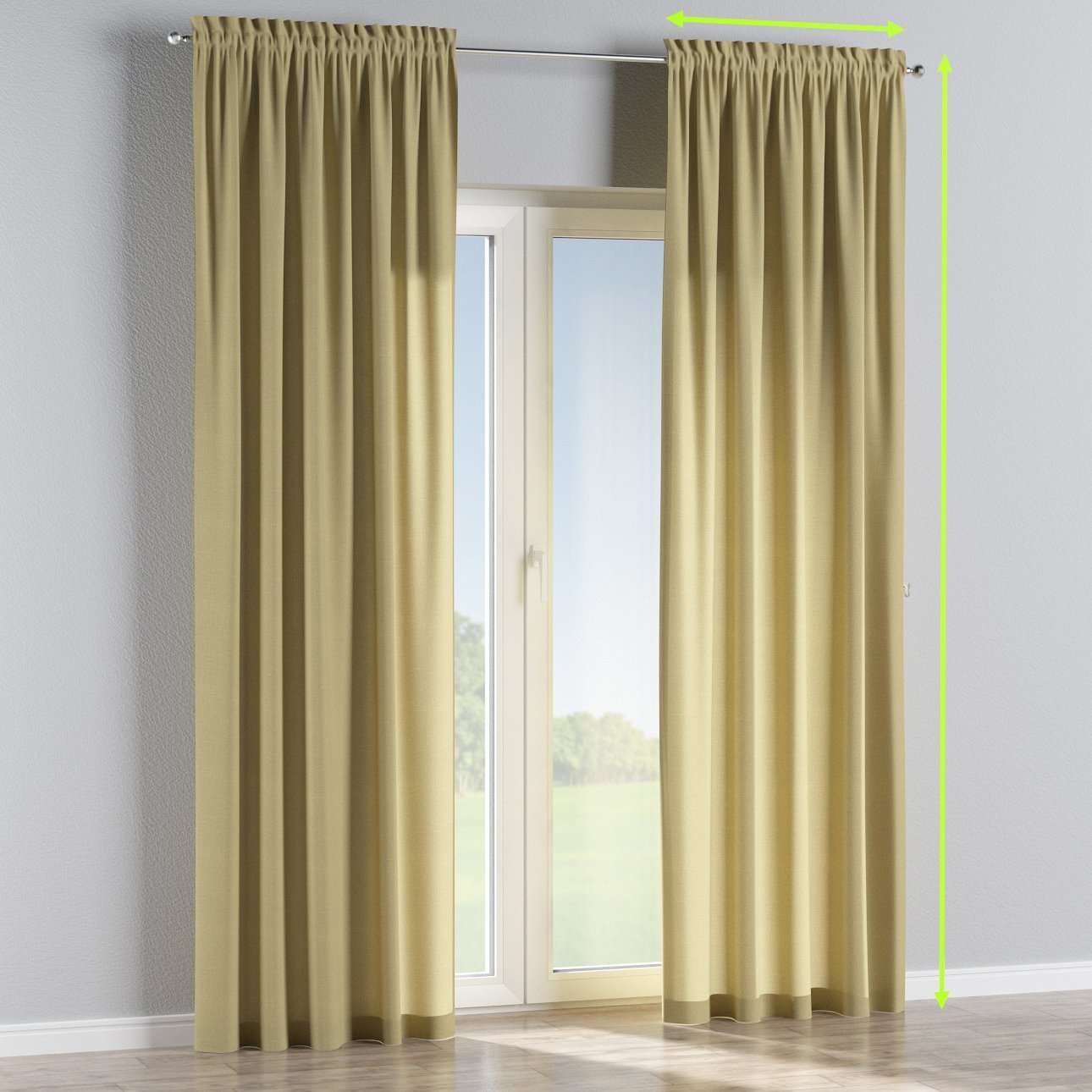 Slot and frill lined curtains in collection Cardiff, fabric: 136-22
