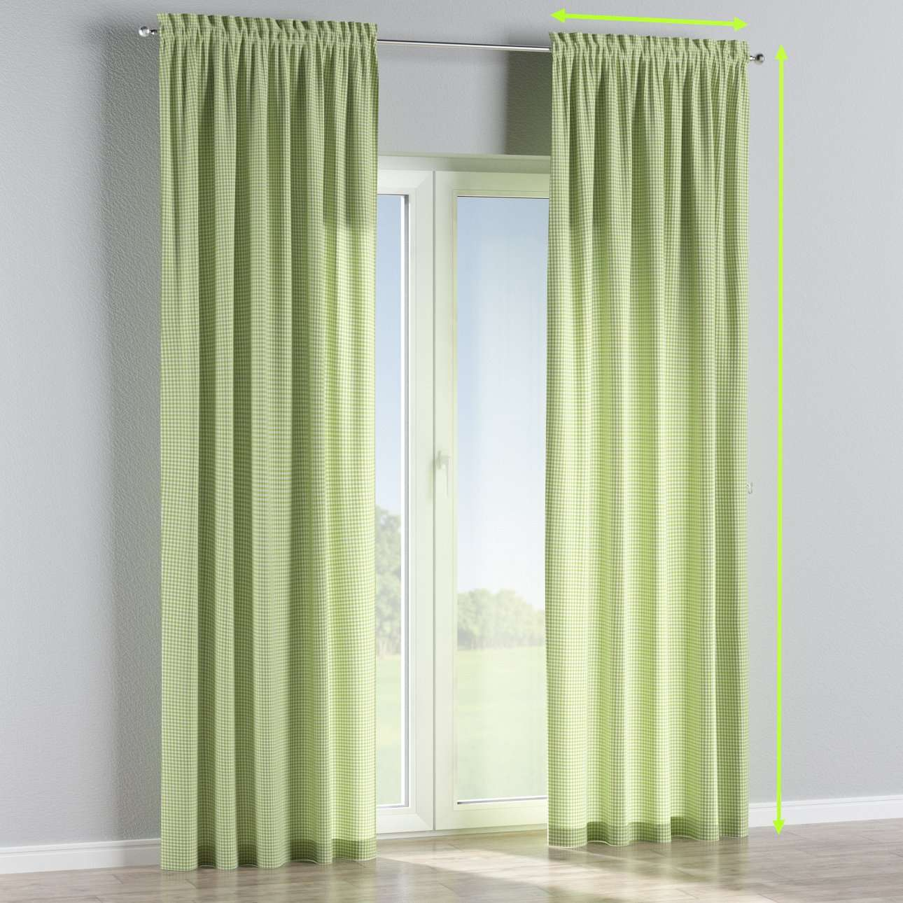 Slot and frill lined curtains in collection Quadro, fabric: 136-33