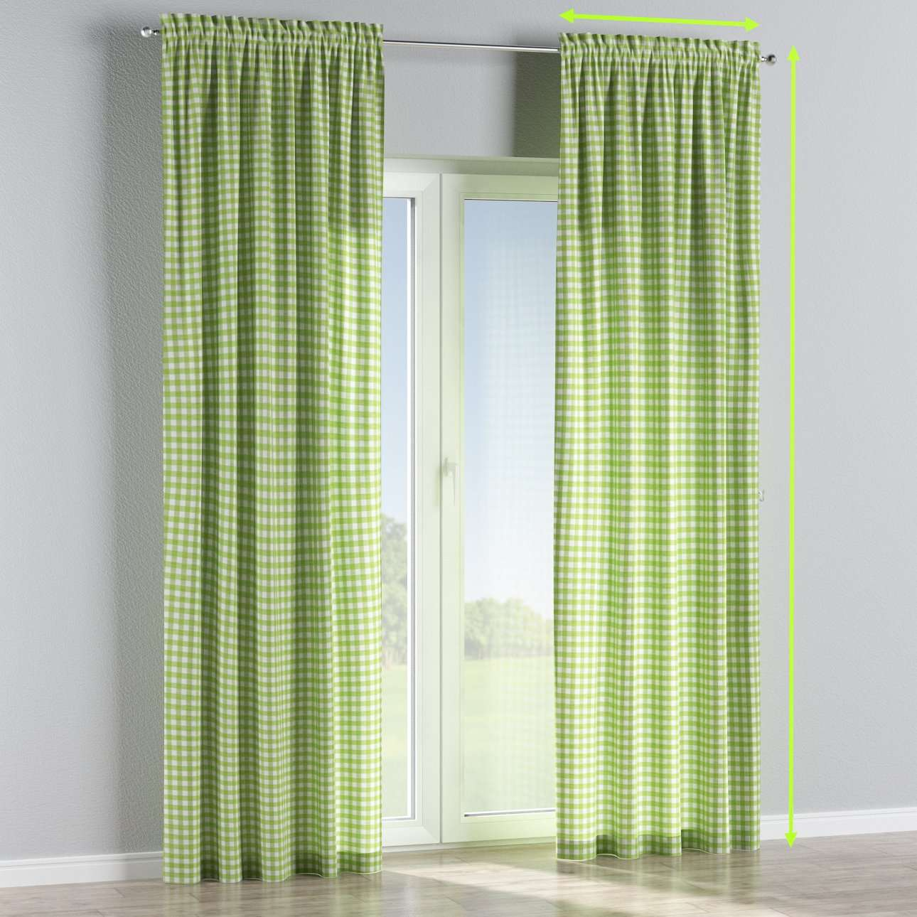 Slot and frill lined curtains in collection Quadro, fabric: 136-34