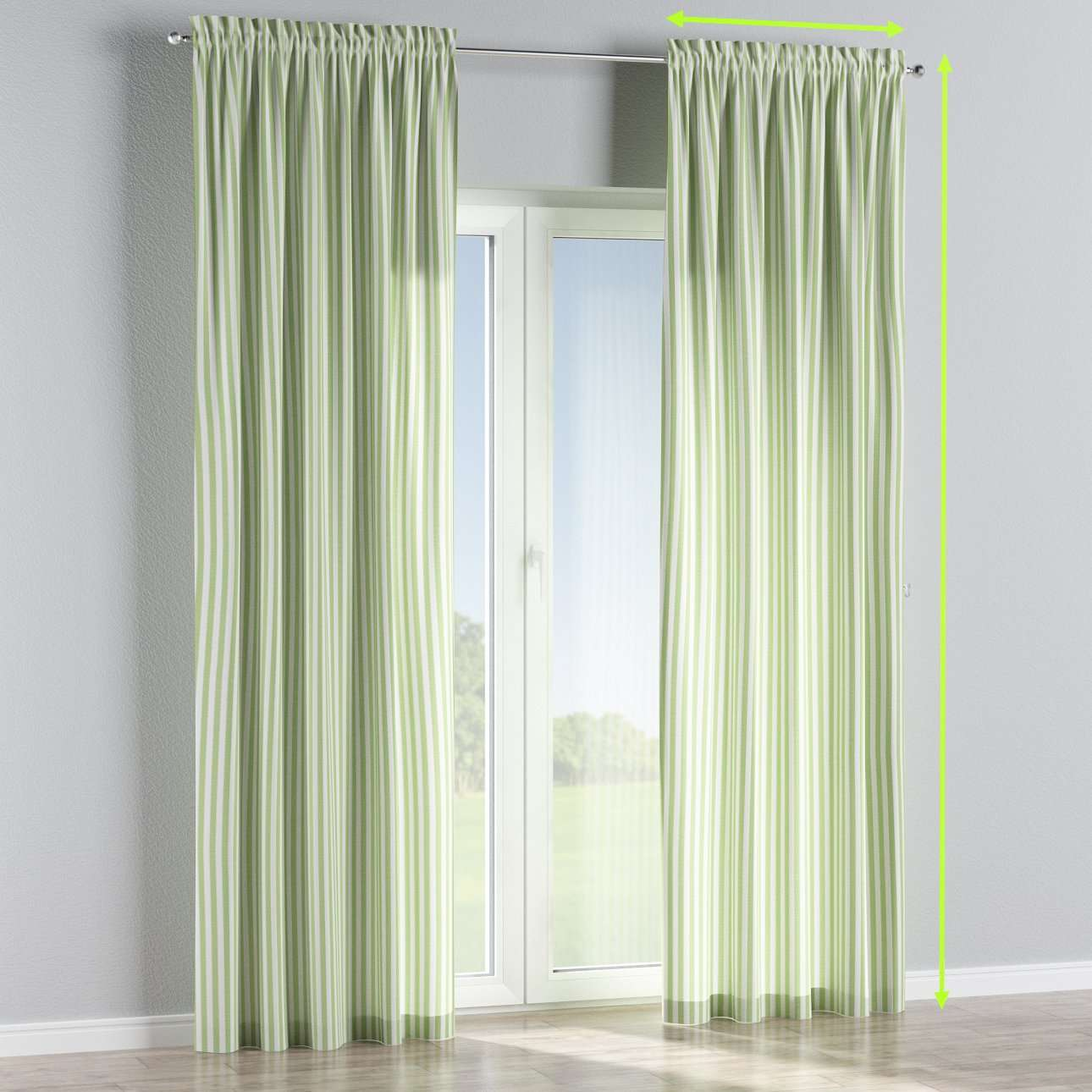 Slot and frill lined curtains in collection Quadro, fabric: 136-35