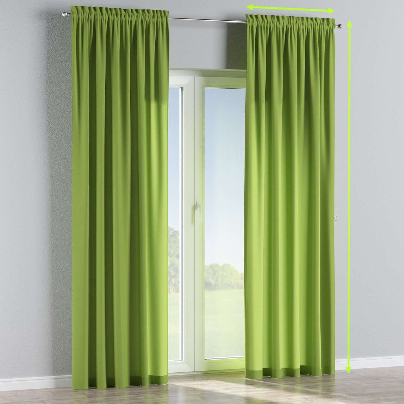 Slot and frill lined curtains in collection Quadro, fabric: 136-37