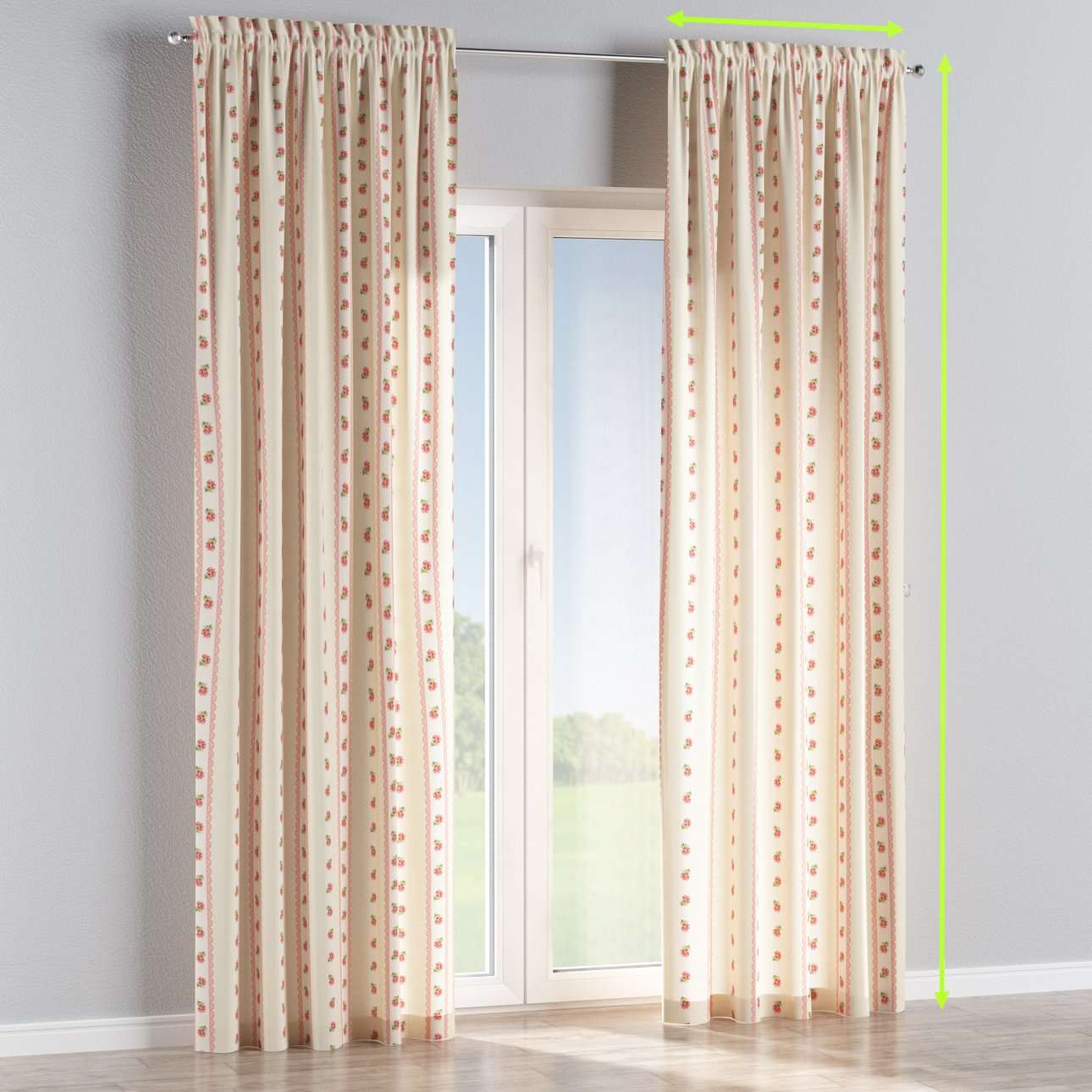 Slot and frill lined curtains in collection Ashley, fabric: 137-48