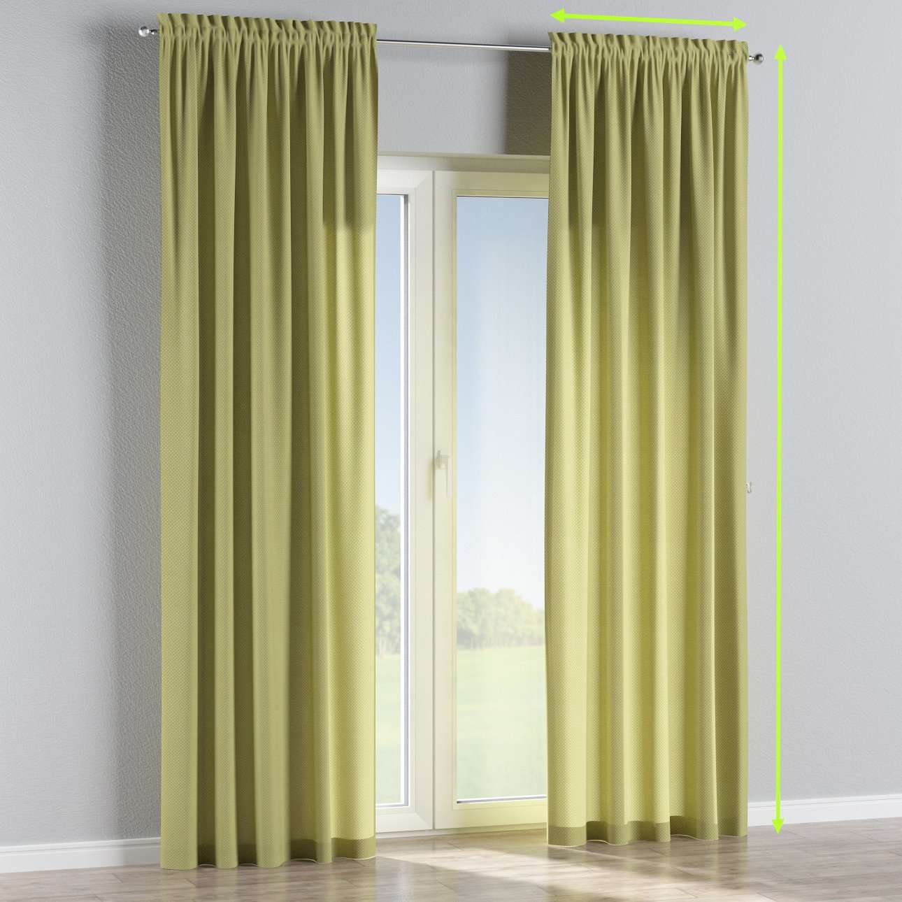 Slot and frill lined curtains in collection Ashley, fabric: 137-51