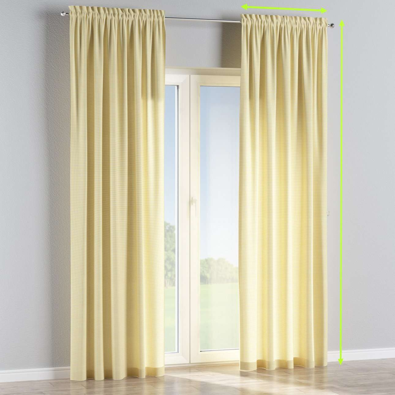 Slot and frill lined curtains in collection Ashley, fabric: 137-64
