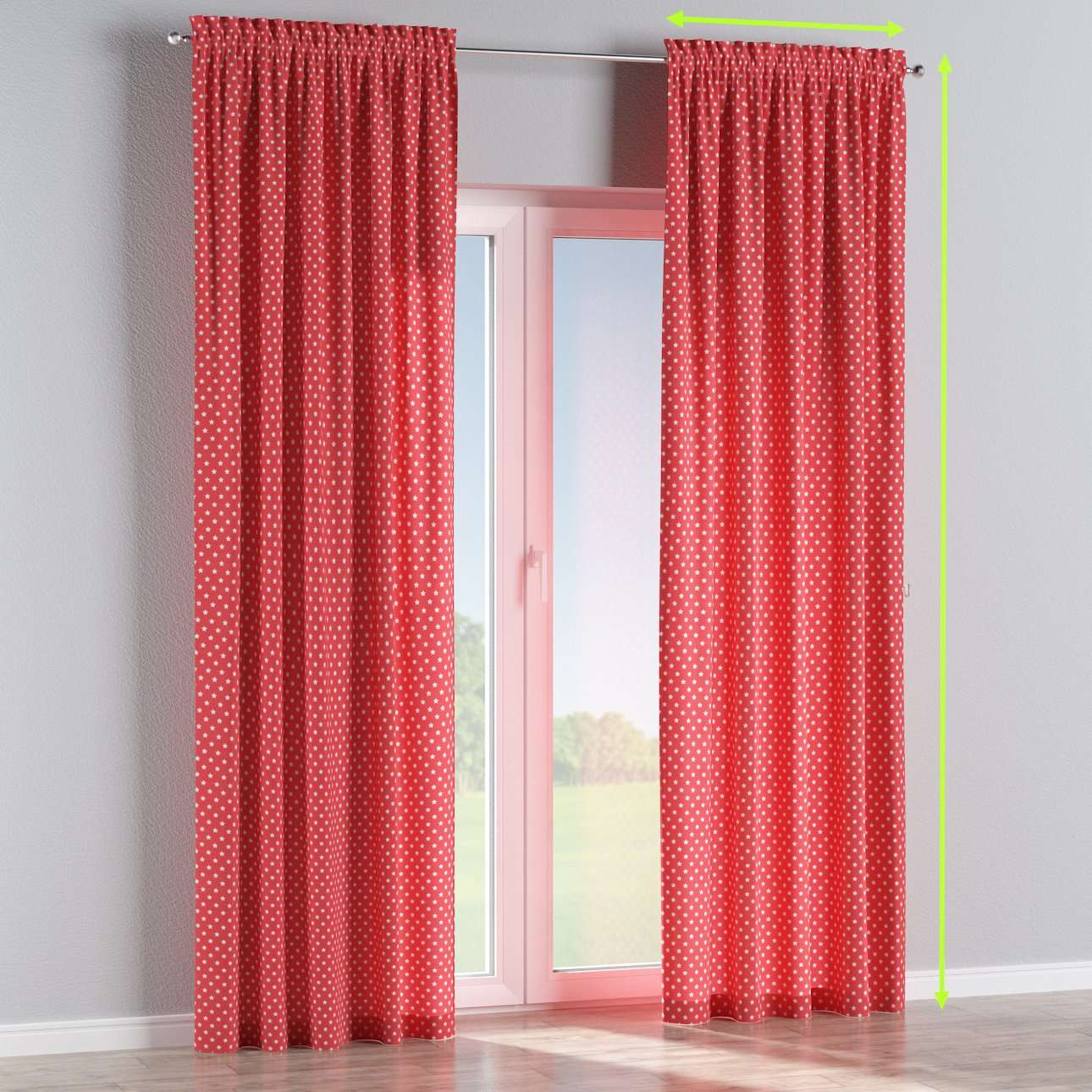 Slot and frill lined curtains in collection Ashley, fabric: 137-69