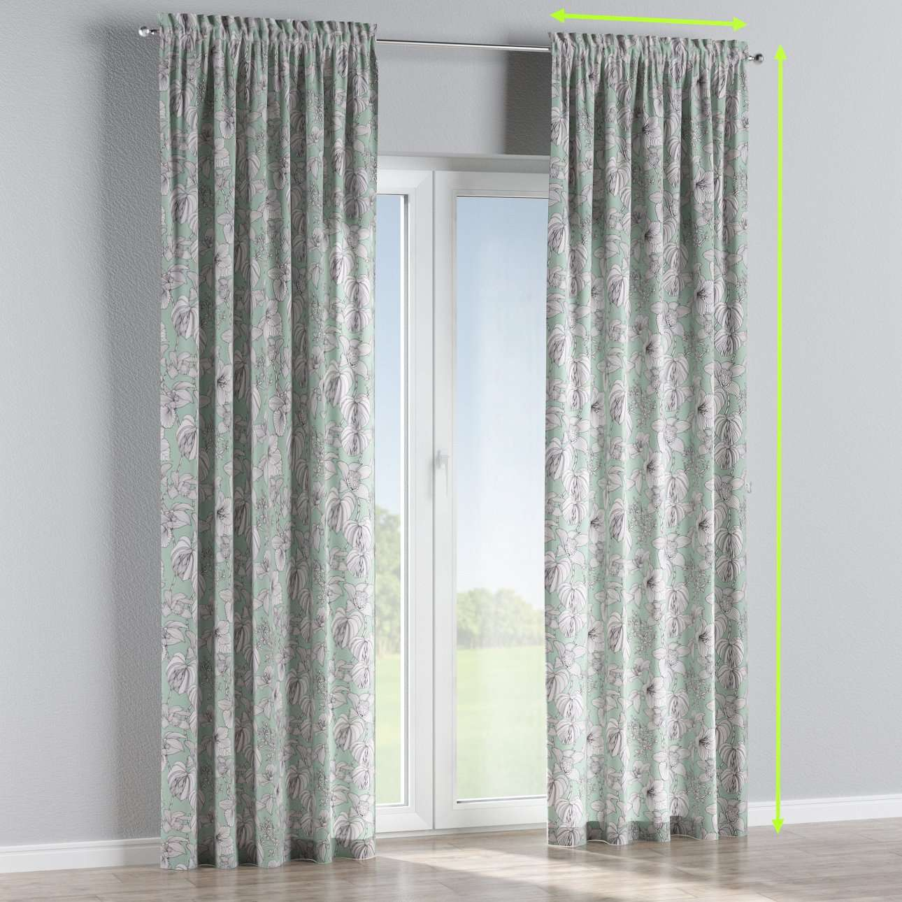 Slot and frill lined curtains in collection Brooklyn, fabric: 137-76