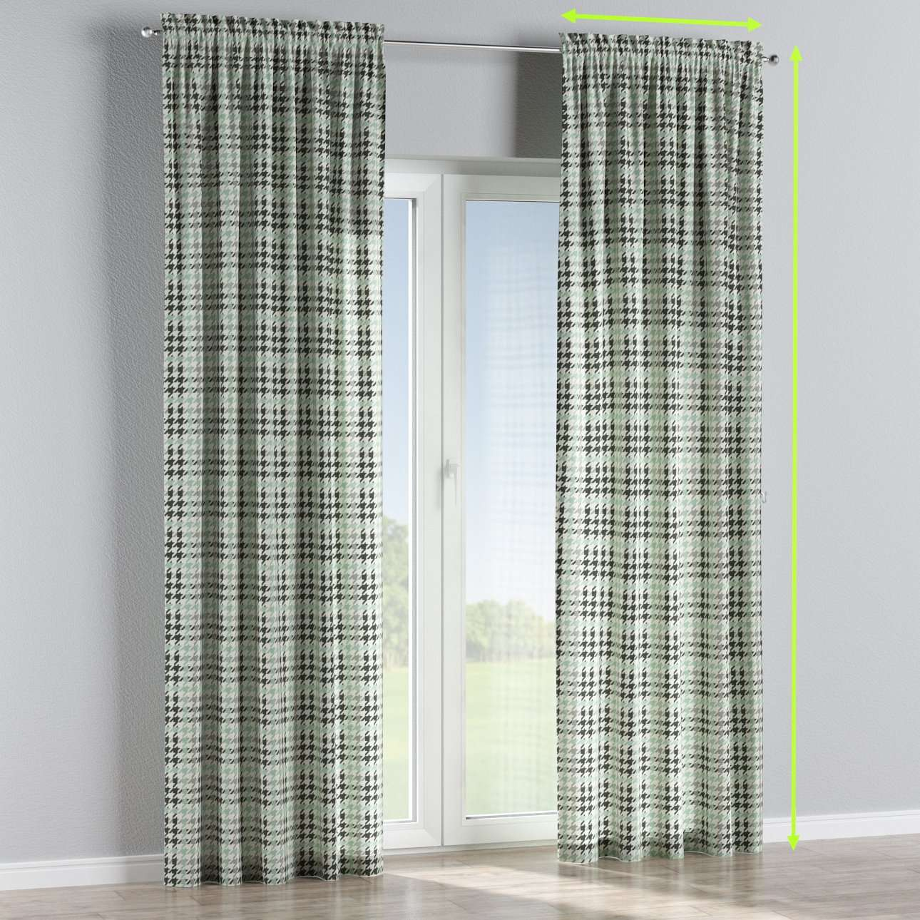 Slot and frill lined curtains in collection Brooklyn, fabric: 137-77