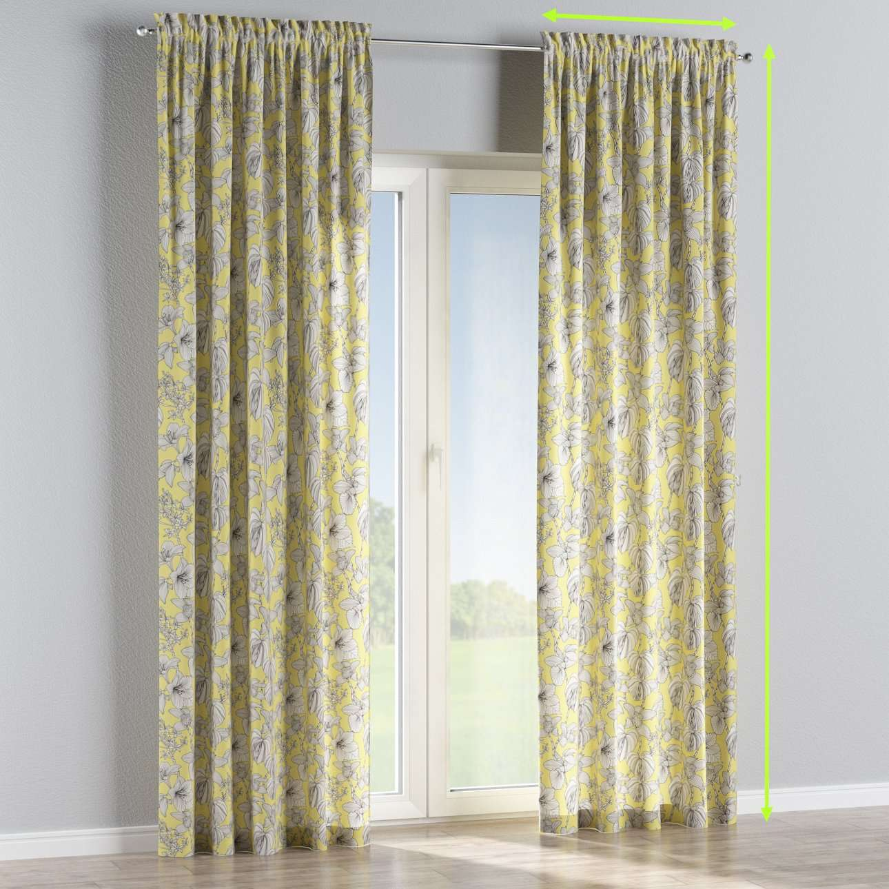 Slot and frill lined curtains in collection Brooklyn, fabric: 137-78