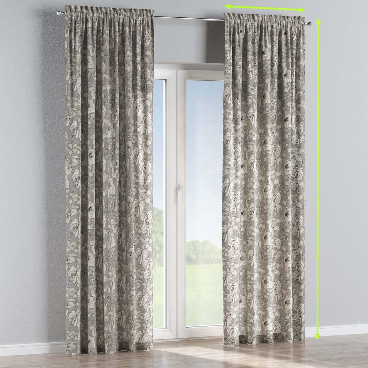 Slot and frill lined curtains in collection Brooklyn, fabric: 137-80
