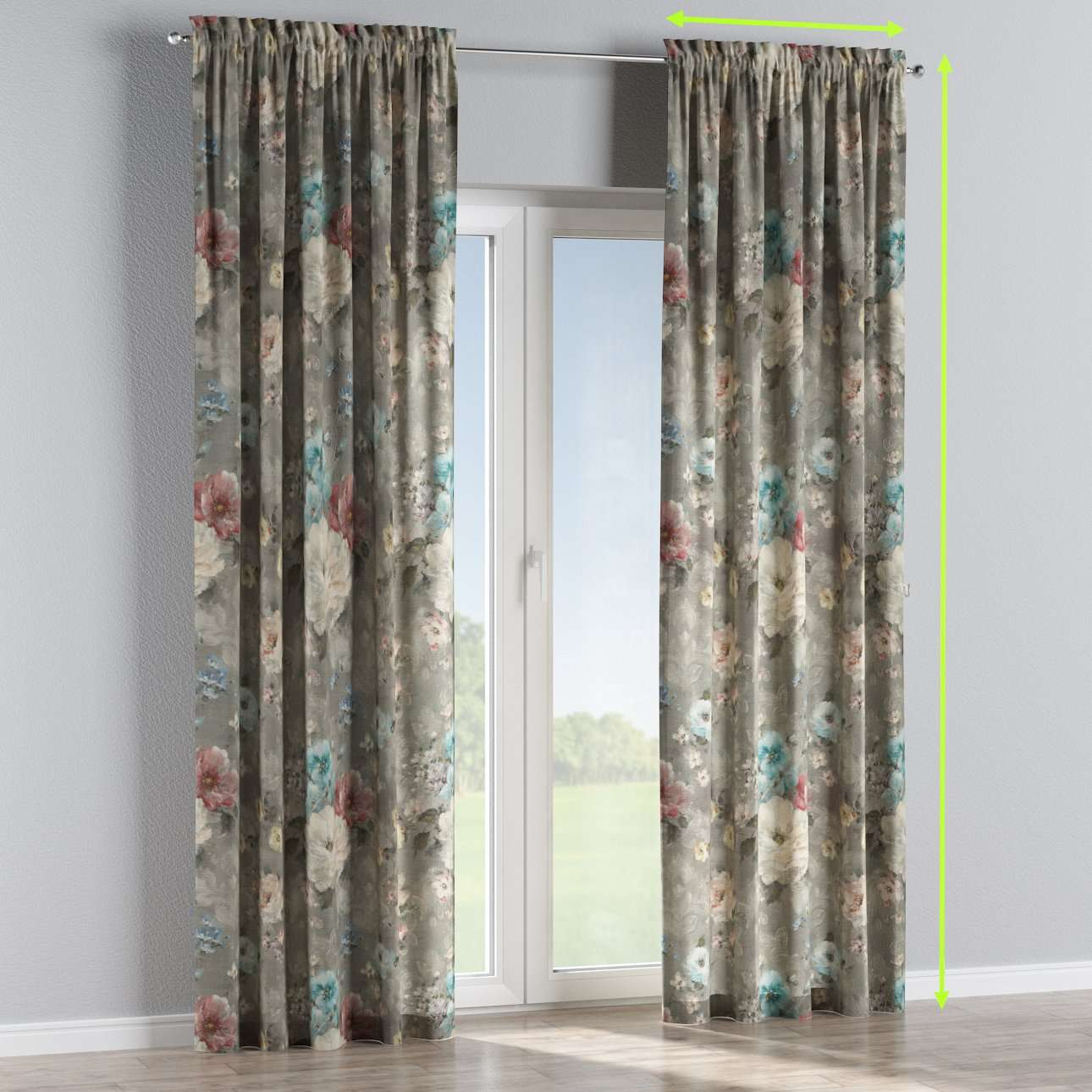 Slot and frill lined curtains in collection Monet, fabric: 137-81