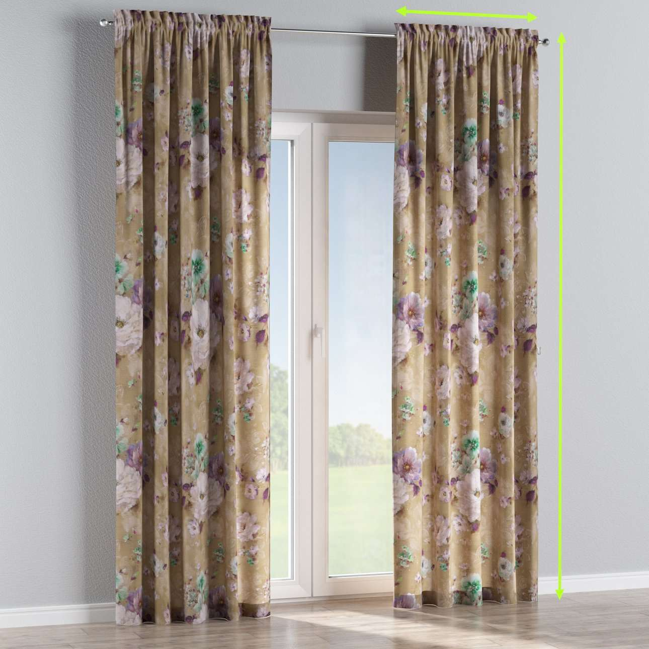 Slot and frill lined curtains in collection Monet, fabric: 137-82