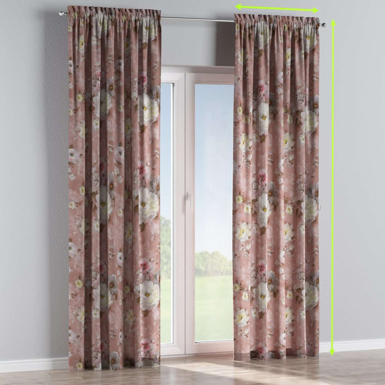 Slot and frill lined curtains in collection Monet, fabric: 137-83