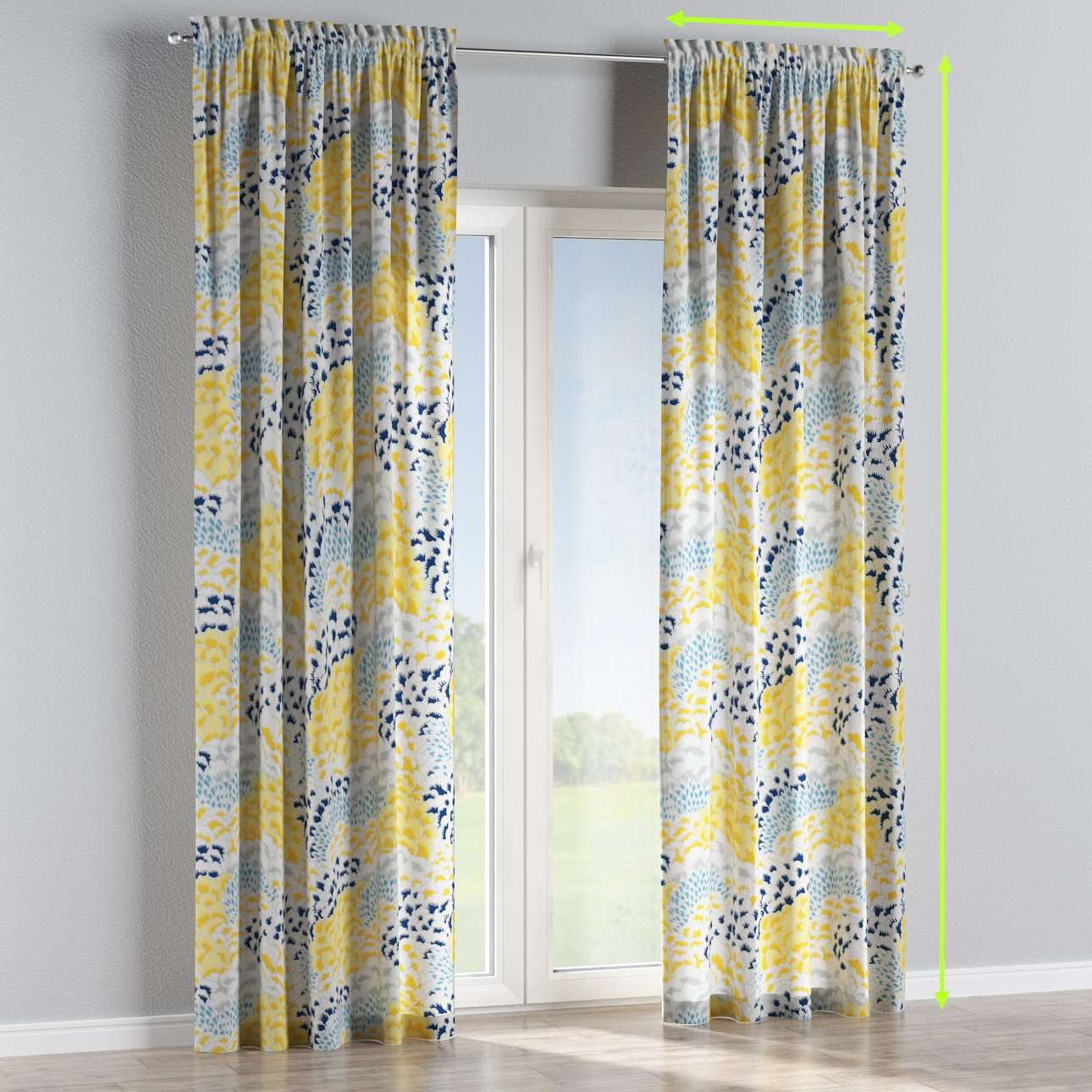 Slot and frill lined curtains in collection Brooklyn, fabric: 137-86