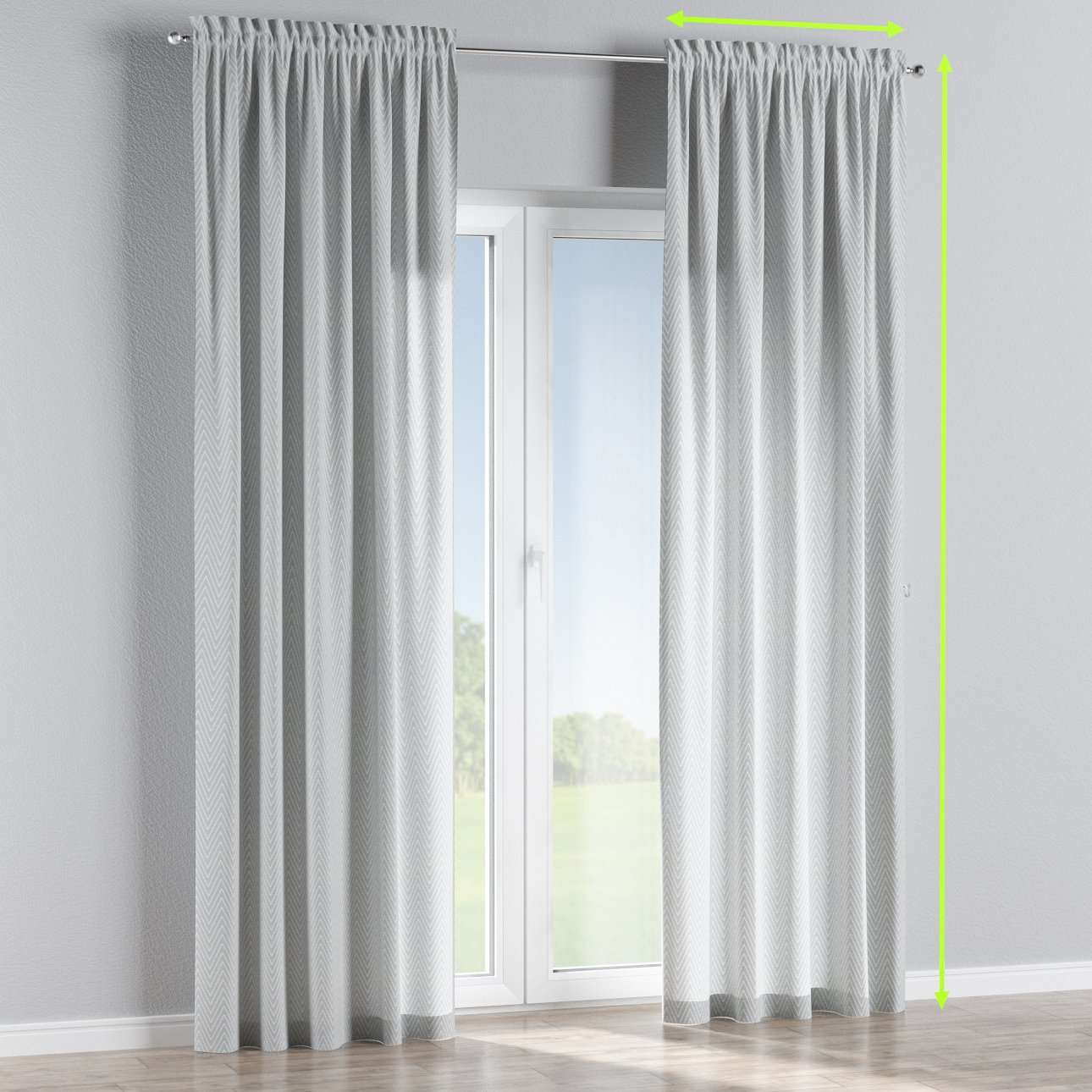 Slot and frill lined curtains in collection Brooklyn, fabric: 137-87