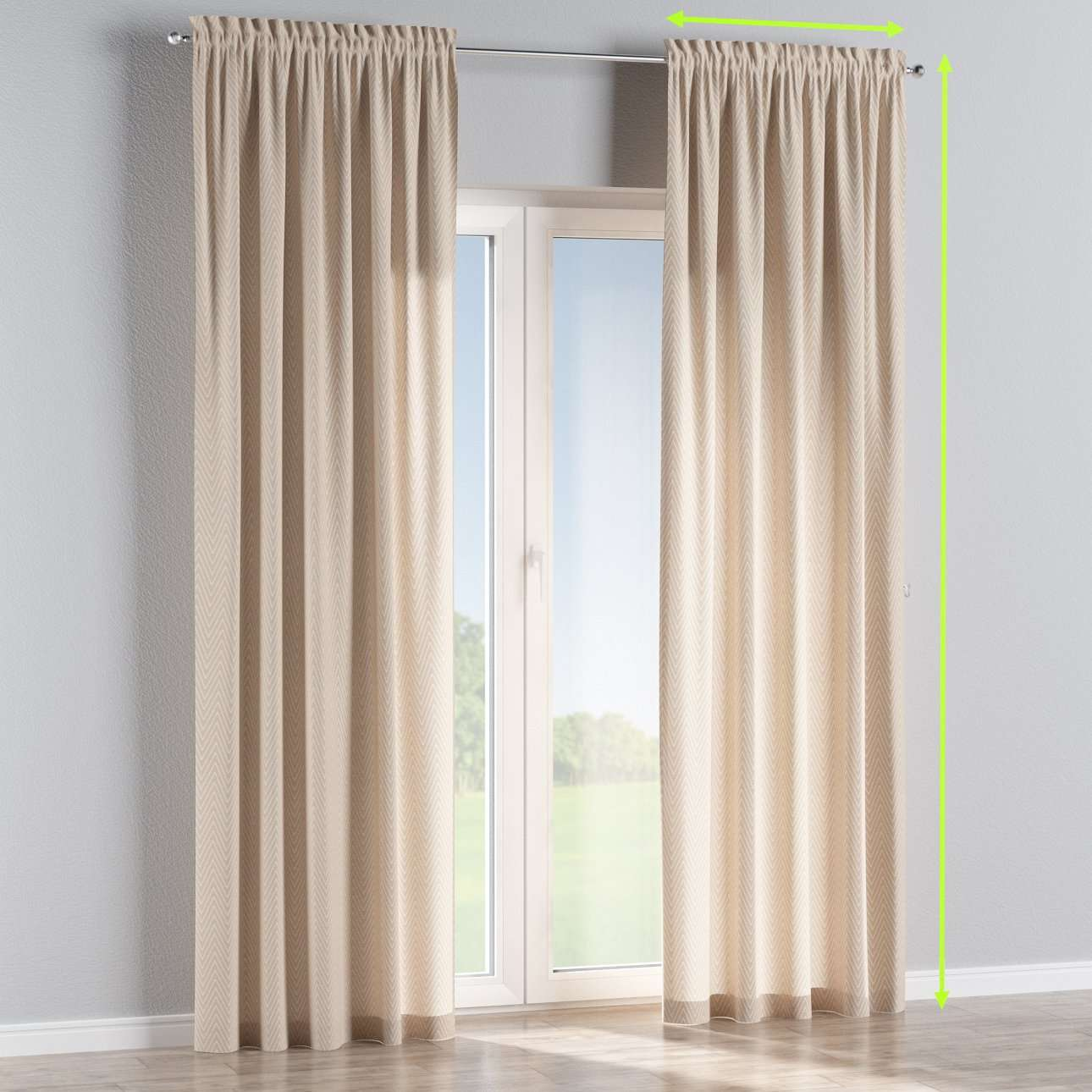 Slot and frill lined curtains in collection Brooklyn, fabric: 137-91