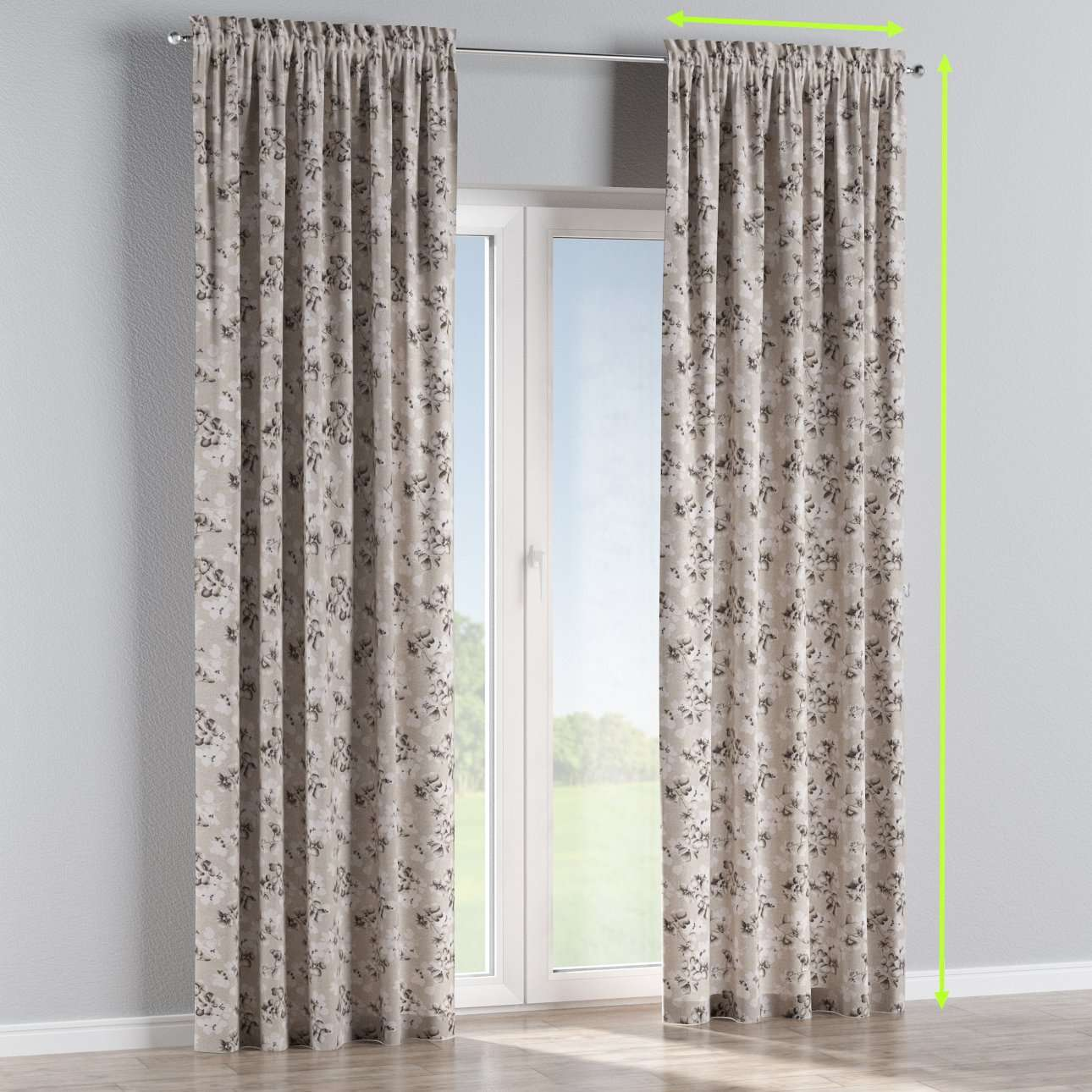 Slot and frill lined curtains in collection Rustica, fabric: 138-14