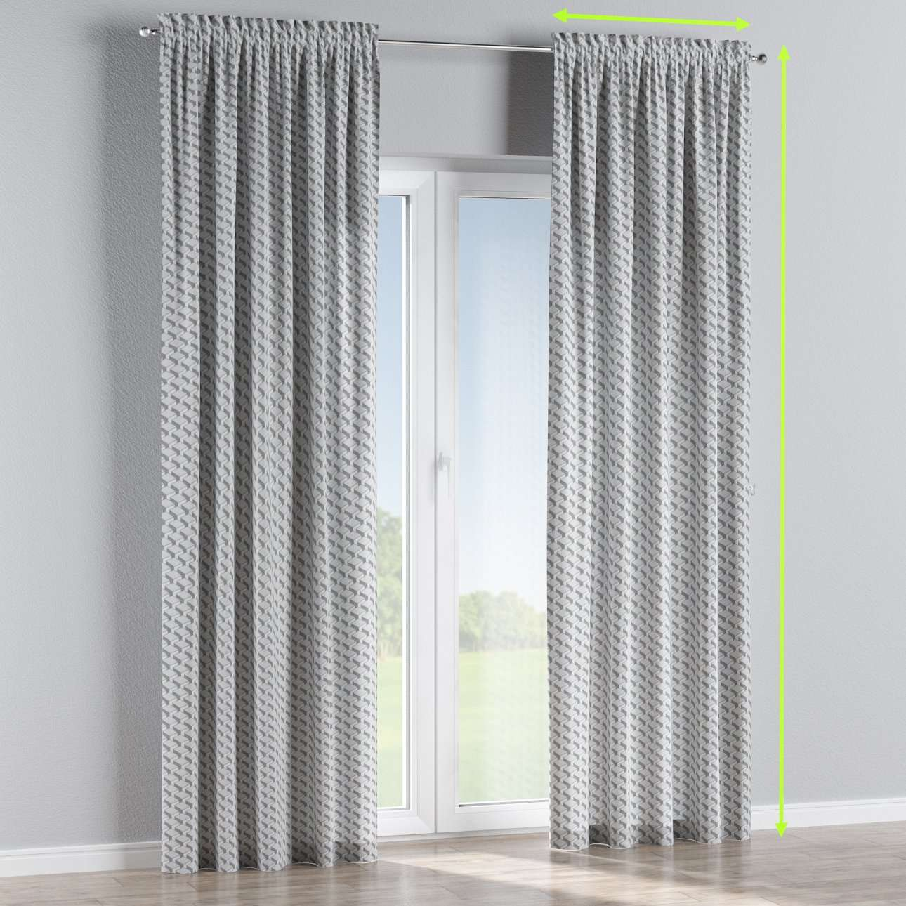 Slot and frill lined curtains in collection Rustica, fabric: 138-18