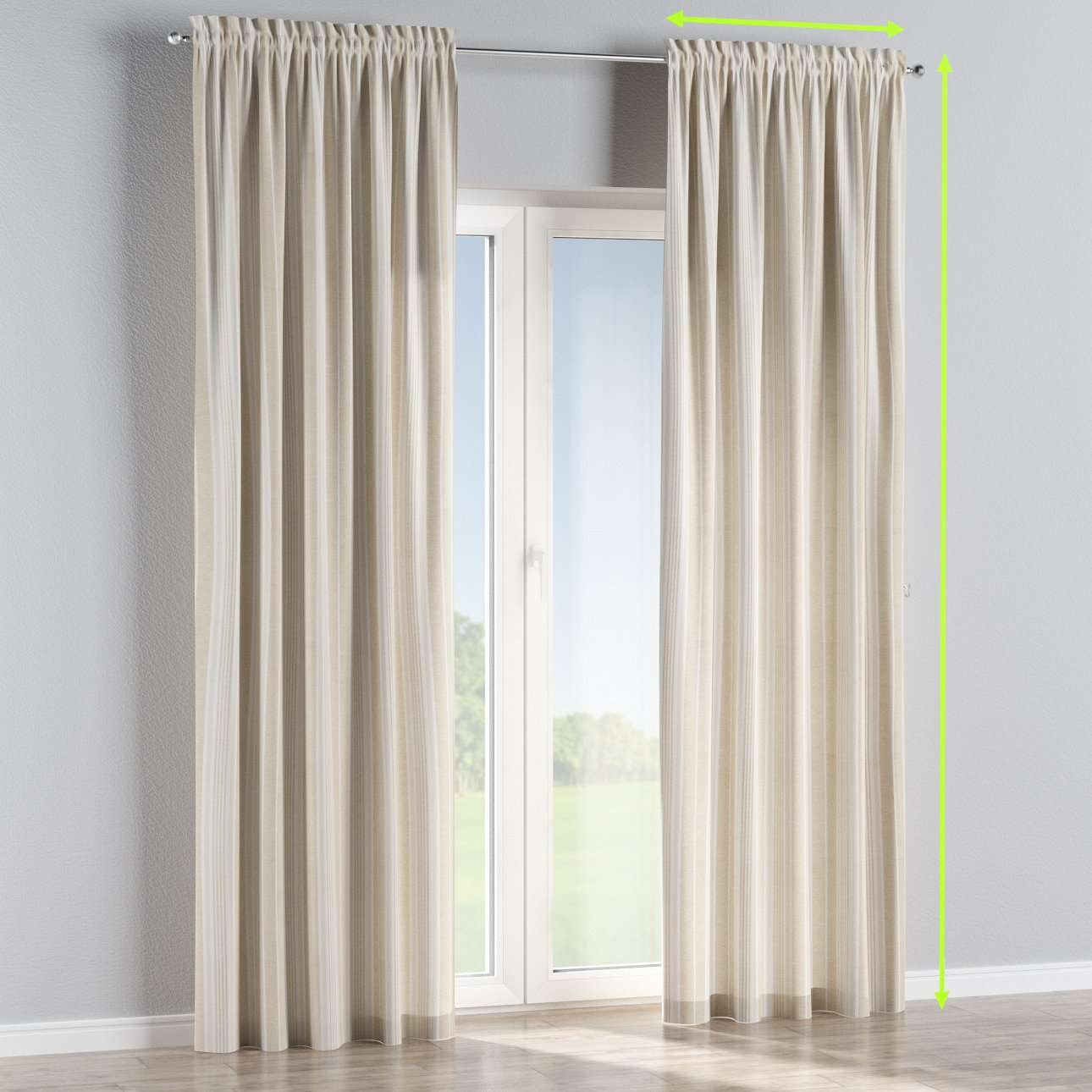 Slot and frill lined curtains in collection Rustica, fabric: 138-24