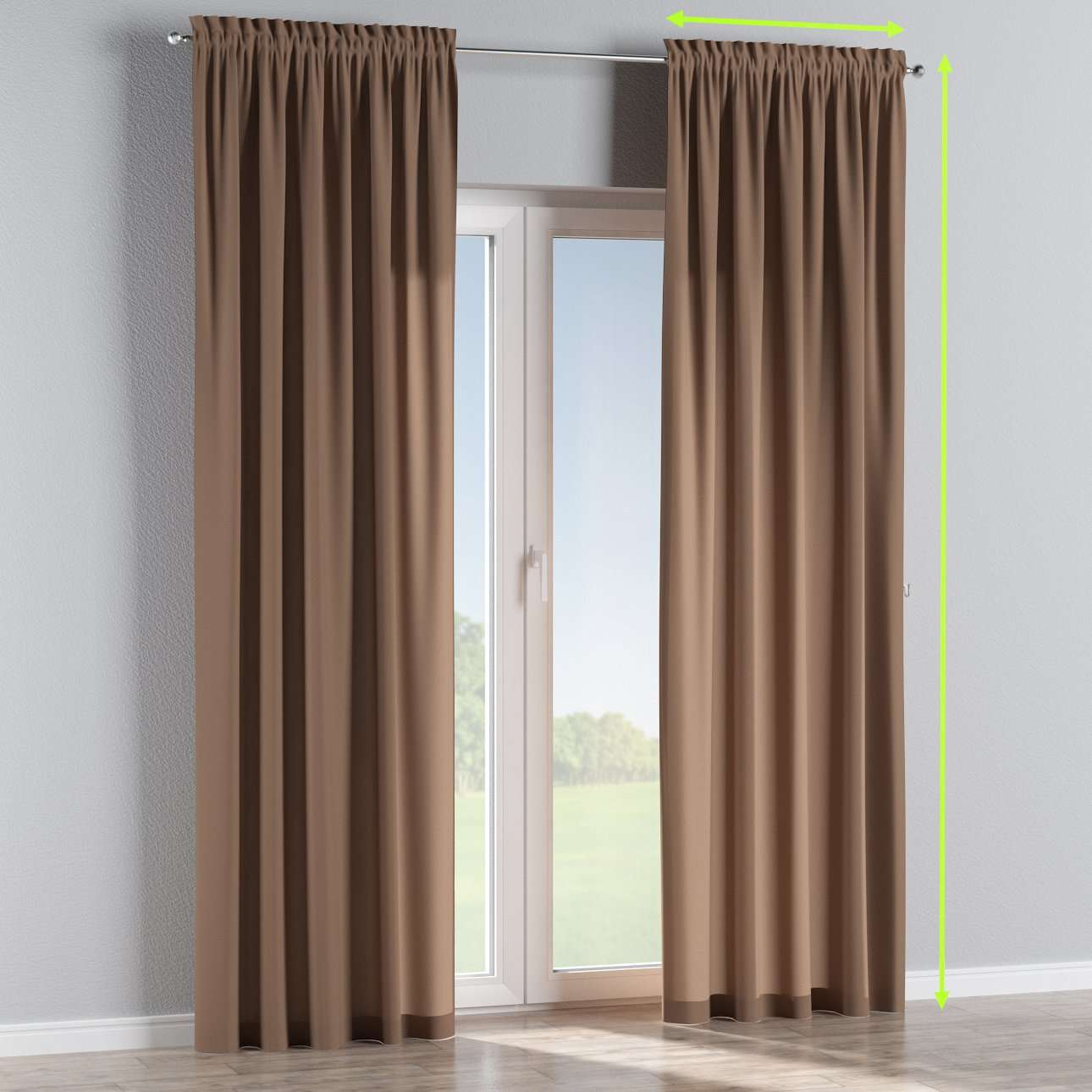 Slot and frill lined curtains in collection Fleur , fabric: 139-15