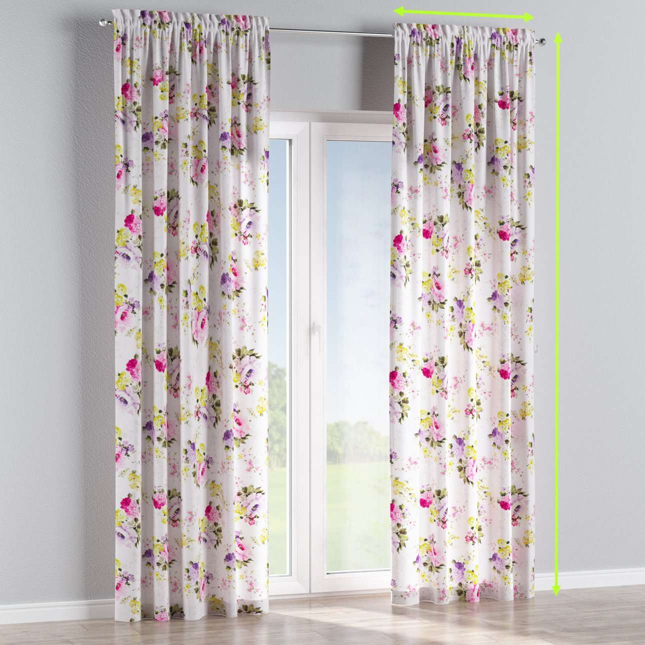 Slot and frill lined curtains in collection Monet, fabric: 140-00