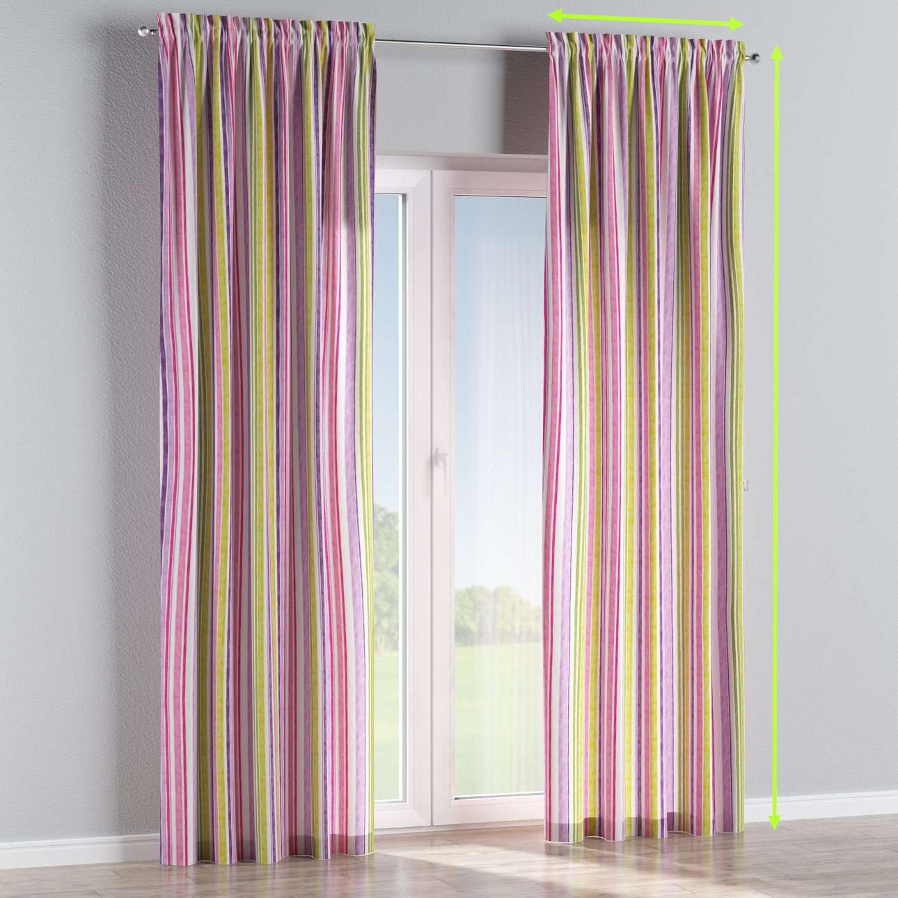 Slot and frill lined curtains in collection Monet, fabric: 140-01