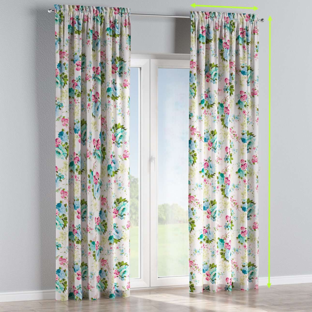 Slot and frill lined curtains in collection Monet, fabric: 140-02